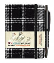Tartan Cloth Notebook Mini: Black & White (Jun)