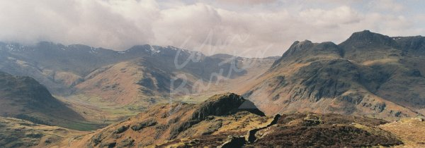 Langdale Pikes, Bow Fell & Side Pike, Lake District Postcard (H