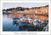 Oban, Argyll - Harbour and Town Centre Postcard (H Std CB)