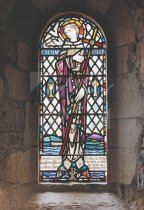 St. Columba stained glass window, Iona Abbey Church Postcard (V