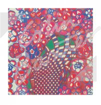 Mackintosh Blue & Pink Tobacco Flowers Textile Greetings Card