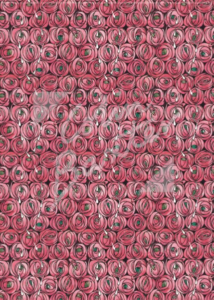 Rose & Teardrops, Textile Design Gift Wrap Sheet