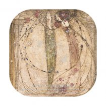 Mackintosh White & Red Ros Gesso Panel (Mack Hse) Coaster